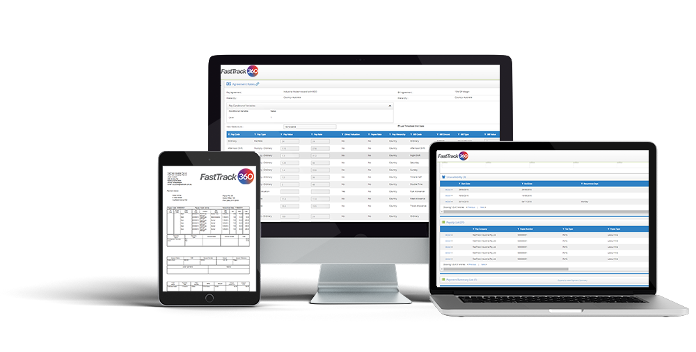 Payslips, job agreement rates and candidate portal payslips for FastTrack360 timesheet, payroll and billing software